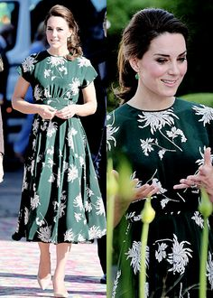 The Duchess of Cambridge arrived at the Chelsea Flower Show wearing a dress by designer ROCHA PARIS | May 22, 2017
