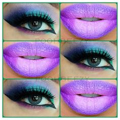 Colorful eye makeup and purple lip color @ poohbeezy