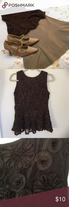 Sleeveless brocade lace top. Rich brown, fitted waist, pendulum bottom top. Buttons in the back. Skirt also for sale on my site. Cocomo Tops Blouses