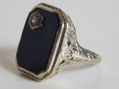 Antique Estate 1800s 1900s Victorian Edwardian VTG 14k White Gold Diamond Onyx