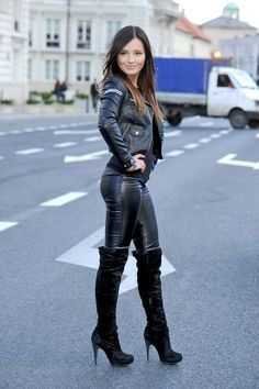 hot outfit… but the high knee boots are taking the look into the wrong direction.