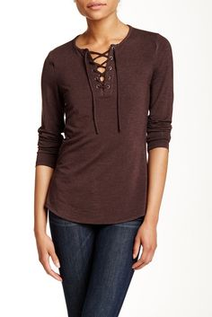 Long Sleeve Lace-Up Tee, $27+$5