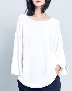 #VIPme White Plain Split Casual Loose Long Sleeve Knitwear ❤️ Get more outfit ideas and style inspiration from fashion designers at VIPme.com.