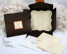 Beautiful Swirly Autumn Wedding Invitations by SDezigns on Etsy
