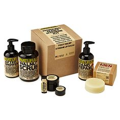 Man's Best Friend  This all-natural set was created by a mechanic who let his dirty, damaged paws drive his inspiration to design products for dudes. The manly salves, scrubs and balms included are specially made to meet the needs of the working man