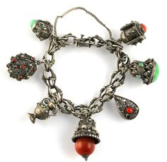 Vintage Silver Italian Etruscan Revival Cannetille Charm Bracelet