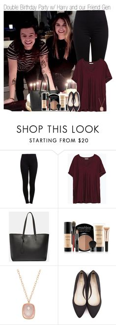 """""""Double Birthday Party w/ Harry and our Friend Gen"""" by beccalynnward ❤ liked on Polyvore featuring Pieces, Zara, Yves Saint Laurent, Smashbox, Carelle and Beyond Skin"""