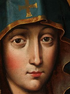 A detail of an 18th century copy of the icon of the Salus Populi Romani (Protectress of the Roman People). The original painting is kept in the archbasilica of Santa Maria Maggiore in Rome. The image has since long been considered a true portrait of Mary, as according to legend it was painted by St Luke.