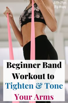 Resistance Band Workout for Firm and Sexy Arms - Check out these beginner exercises perfect to tone and tighten your upper body. All you need is a mini loop band or a long resistance band to do this workout. Great for strengthening your arms and back. Best Resistance Bands, Resistance Band Exercises, Training Exercises, Body Exercises, Resistance Workout, Stretch Band Exercises, Fitness Exercises, Arm Workout For Beginners, Beginner Workouts