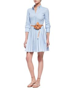 -5M6C Michael Kors Oxford Double-Cuff Shirtdress & Flower-Detailed Skinny Leather Belt