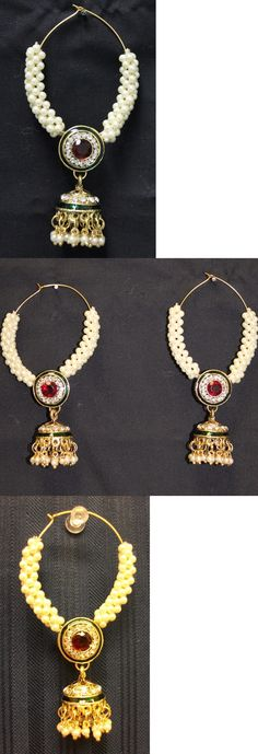 Earrings 98510: Earrings 4556 Golden Red Indian Designer Jhumki Pearls Earrings Shieno Sarees BUY IT NOW ONLY: $45.0