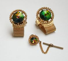 Vintage Watermelon Rivoli Cuff Links and Tie Tack Set by wimpyren