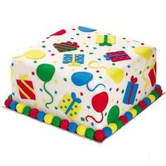 This cake captures everyone?s attention! After covering a 8 in. Square Pan cake in white fondant, decorate it with fondant balloons and gifts shaped with Fondant Cutters Round and Square Cut-Outs. Wilton Cakes, Fondant Cakes, Cupcake Cakes, Square Birthday Cake, First Birthday Cakes, Wilton Cake Decorating, Cake Decorating Tools, Rodjendanske Torte, Birthday Cakes