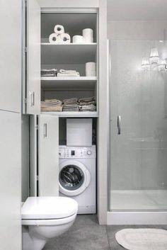 Ideas For Bathroom Storage Furniture Small Tiny House Bathroom, Downstairs Bathroom, Laundry In Bathroom, Budget Bathroom, Bathroom Layout, Bathroom Storage, Bathroom Ideas, Master Bathroom, Bathroom Organization
