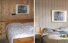 TON I TON: På soverommet ble to store og upraktiske kommoder byttet ut med to nette nattbord. Seng, nattbord og skap ble fargesatt med delikate, duse grønntoner fordi hytteeieren var opptatt av å ha rolige farger på soverommet.