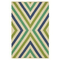 Chevron Rug in Capri Blue (Geometric Pattern, Flatweave Rugs) | Handmade Area Rugs from Company C (New)