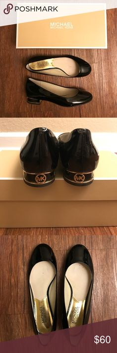 Michael Kors black patent leather flats A classic black patent leather flats with the MK emblem on the heel. Worn just three times and in excellent condition! MICHAEL Michael Kors Shoes Flats & Loafers