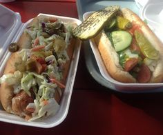 Classic Chicago dog and a jalapeño-cheddar sausage from our pick for Nashville's best hot dogs. Amazing hand-cut fries as well. Hot Dog Buns, Hot Dogs, Hand Cut Fries, Nashville Restaurants, Jalapeno Cheddar, Sausage, Tacos, Chicago, Amazing