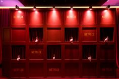 Netflix Golden Globes Party: Upon entering the Netflix party, guests were offered a glass of wine by hands coming from a Netflix-branded wall. They also could stop by a shoe valet, and trade in their heels or dress shoes for a pair of slippers. Corporative Events, Moet Rose, Media Wall, Red Walls, Mini Bottles, Partys, Hanging Lanterns, Party Guests, Vinyl Wall Decals
