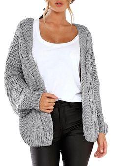 Astylish Women Open Front Long Sleeve Chunky Knit Cardigan Sweaters Loose Outwear Coat S-XXL Baggy Pullover, Oversized Knit Cardigan, Pullover Mode, Loose Sweater, Cable Knit Sweaters, Sweater Cardigan, Slouchy Cardigan, Orange Cardigan, Gray Cardigan