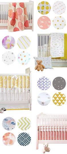 Adorable crib bedding collections compiled by Baby List and pinned by A Lovely Lark! We always love a good mix and match.