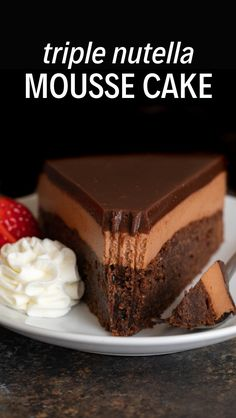 This triple Nutella mousse cake features a rich Nutella brownie base topped with a layer of luscious Nutella mousse filling and a layer of soft Nutella ganache. # These rich, deeply chocolatey Nutella B Torte Nutella, Nutella Ganache, Nutella Brownies, Brownie Cake, Triple Chocolate Mousse Cake, Chocolate Chip Cookie Dough, Chocolate Chocolate, Food Cakes, Cupcake Cakes