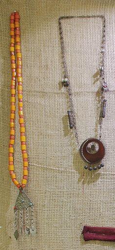 Two necklaces.  Kurdish, from Iraqi Kurdistan, ca. mid-20th century.  On exhibit in the Kurdish Textiles Museum, Erbil (northern Iraq).