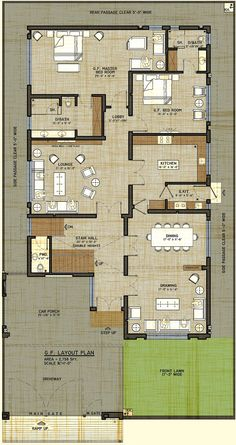 1 kanal house drawing   floor plans   layout with Basement in DHA     Big buanglaw