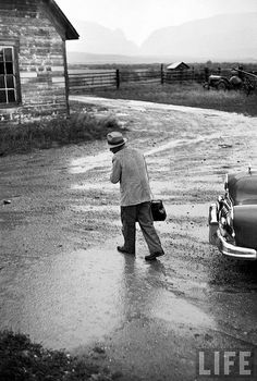 photo by W. Eugene Smith, Country Doctor (Country doctor, Dr. Ernest Ceriani, on his way to a house call during bad weather. Kremmling, CO, US, August 1948, LIFE Magazine)