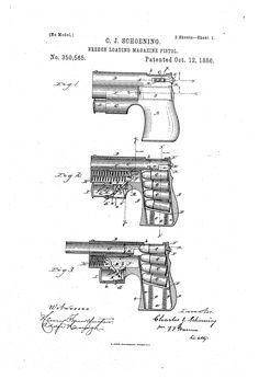 Патент US350565 - Breech-loading magazine-pistol Chalkboard Decor, Chalkboard Print, Vintage Home Offices, Gun Art, Patent Drawing, Book Of Shadows, Diy And Crafts, Prints, Exploded View