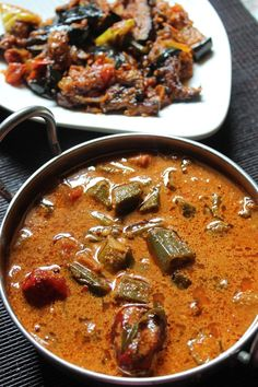 Vendakkai Puli Kuzhambu Recipe / Lady's Finger Kulambu Recipe (with coconut) - Yummy Tummy Veg Recipes, Curry Recipes, Indian Food Recipes, Cooking Recipes, Simple Recipes, Mushroom Recipes, Asian Cooking, Vegetarian Cooking, Vegetarian Recipes