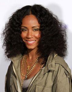 Jada Pinkett Smith's curly, voluminous hairstyle