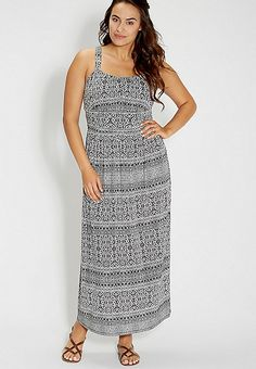 plus size ethnic print maxi dress with strappy back | maurices