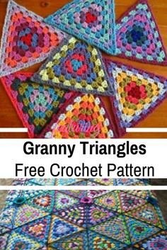Crochet Granny Square Ideas [Free Pattern Video Tutorial] These Granny Triangles Are Quick And Easy To Make And Look Absolutely Gorgeous! - These crochet granny triangles are a lovely way to play with color and make something beautiful in the process. Granny Square Crochet Pattern, Crochet Blocks, Crochet Afghans, Afghan Crochet Patterns, Crochet Motif, Crochet Yarn, Crochet Stitches, Knitting Patterns, Crochet Crafts