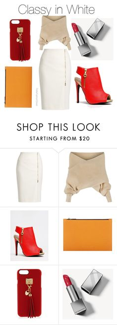 """""""Classy In White"""" by petitefashionstreet ❤ liked on Polyvore featuring MaxMara, WithChic, Qupid, Victoria Beckham, Henri Bendel and Burberry"""