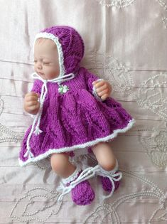 """Hand knitted dolls clothes to fit a 10"""" doll/reborn baby/baby doll"""