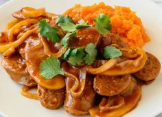 Food and drink Budget recipes. Budget Friendly 20 Minute Devilled Sausages With Sweet Potato Mash. Devilled Sausages Recipes, Sausage Recipes, Beef Recipes, Cooking Recipes, Curried Sausages, Slow Cooking, Easy Cooking, Healthy Mummy Recipes, Pork