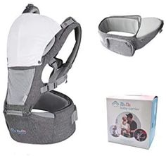Baby Carrier Hip Seat for Newborn Toddler, Front Facing Child Carrier, Baby Back Carrier with Hood and Bib, All Season Breathable for Nursing Hiking Travel Indoor. Christmas Gift For New Mom and Dad : Baby
