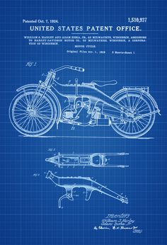 Harley Motorcycle Patent - Patent Print, Wall Decor, Motorcycle Decor, Harley Davidson Art by publiclens on Etsy