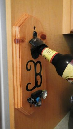 Wall Mount Bottle Opener With Magnetic Cap Catcher and Custom Decor via Etsy