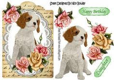 Cute Cavalier puppy with pink roses lace script on Craftsuprint - Add To Basket!