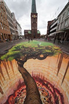 The Tree Project series: Pavement Art Aarhus - Denmark - Edgar Mueller Last Month (Aug. I was invited to join one of the largest cultural Events of Scandinavia, the Aarhus Festuge. 3d Street Art, 3d Street Painting, Amazing Street Art, Street Art Graffiti, Street Artists, Amazing Art, Awesome, Edgar Mueller, Illusion Kunst