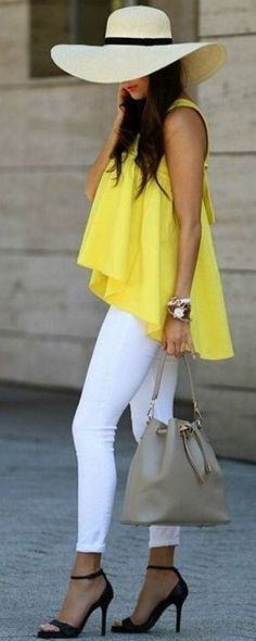 #summer #trending #fashion | Yellow + Black and White