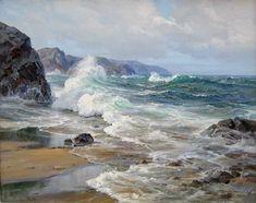 Charles Vickery - Untitled Seascape, x oil on canvas Watercolor Landscape, Landscape Art, Landscape Paintings, Watercolor Sea, Ocean Scenes, Beach Scenes, Sea Waves, Seascape Paintings, Ocean Art