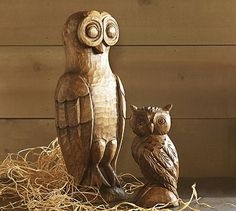 Carved Wood Owls #potterybarn