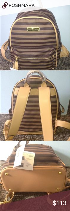Adrienne Vittadini Brown Stripe Backpack I'm selling a Adrienne Vittadini Backpack. It is a brown striped backpack. Camel color shoulder straps. Gold hardware. It's exterior is made of soft PU material. It is very durable and strong. Interior is fully lined. Adjustable straps. It has a front zipper pocket and a main zipper pocket. In the main/big compartment it has a zipper compartment and two pockets on the other side. It has two nice size compartments on the side of the backpack. Beautiful…