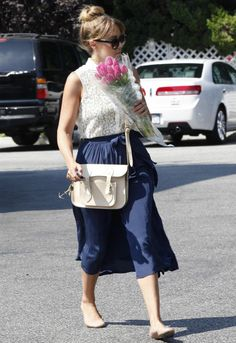 Lauren Conrad wearing Chloe Lauren Scalloped Ballet Flats in Nude The Cambridge Satchel Company Chelsea bag in Cream Crocus Paper Crown Netting Skirt