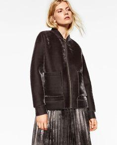 Image 2 of VELVET BOMBER JACKET from Zara