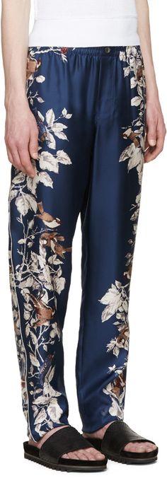 Dolce & Gabbana Blue Bird Print Silk Trousers