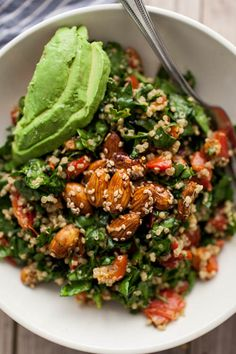 Sesame-Almond + Avocado Spinach Salad with Quinoa. (Didn't have peppers. Went fruity instead - added mandarin oranges, cranberry, feta with the avocado. The dressing pulled it all together. Yum!)